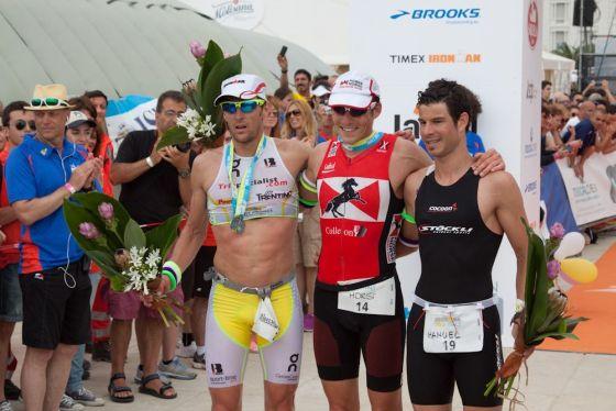 Il podio maschile dell'Ironman 70.3 Pescara 2013