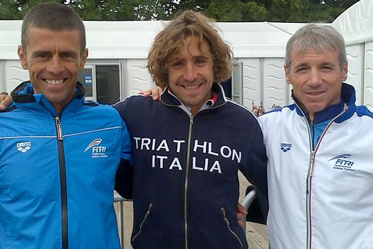 Le 3 medaglie azzurre ai Mondiali di Aquathlon di Londra 2013: Lorenzo Boni, Isacco Andrenucci e Danilo Palmucci (foto: FITri.it)