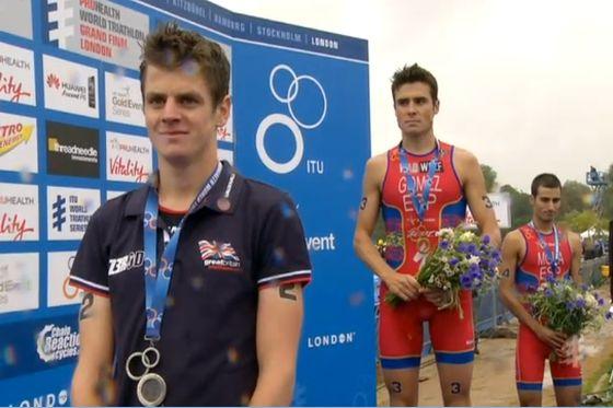 Il podio maschile dell'ITU World Triathlon Grand Final London 2013