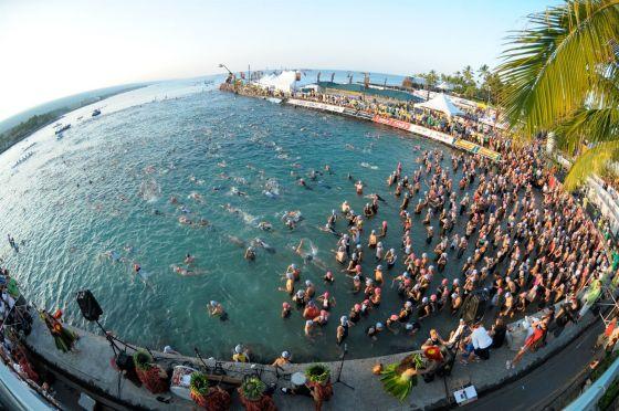 La spiaggia della partenza dell'Ironman Hawaii