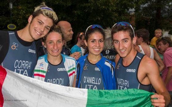 Marco Corrà, Federica Parodi, Cecilia D'Aniello e Riccardo Natari d'oro a squadre nel duathlon europeo