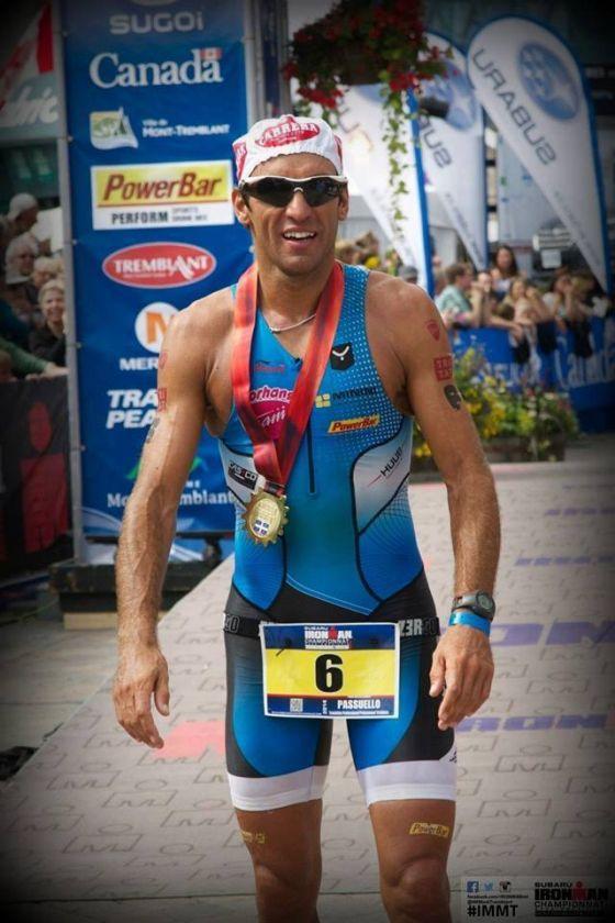 Domenico Passuello all'arrivo dell'Ironman Mont-Tremblant 2014