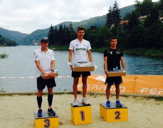 Il podio maschile del 15° Triathlago di Osiglia