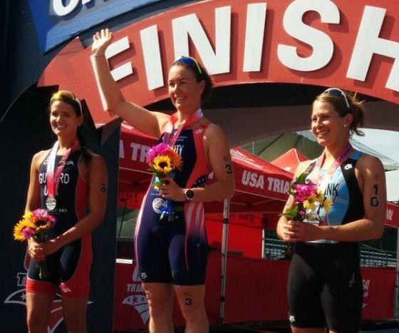 Il podio femminile dell'USA Triathlon Super Series Milwaukee 2014