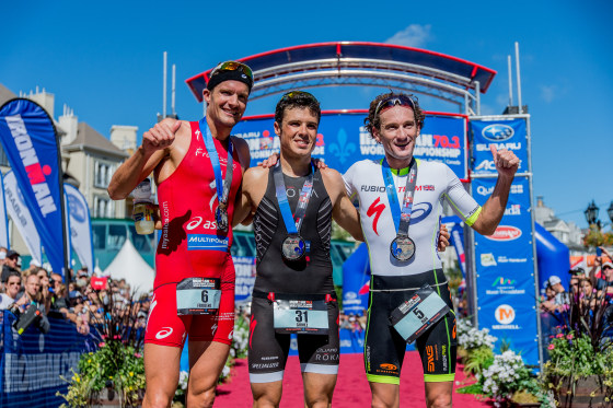 Il podio dell'Ironman 70.3 World Championship a Mont-Tremblant, in Canada