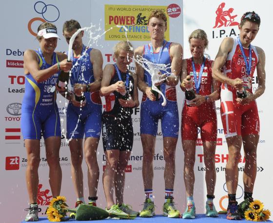 Il podio iridato del Powerman Zofingen Duathlon Long Distance 2014