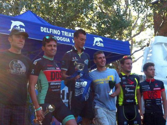 Il podio maschile del Triathlon Sprint di Sottomarina di Chioggia 2014
