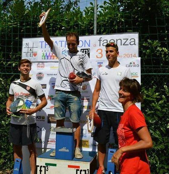 Il podio maschile del Triathlon Sprint Città di Faenza 2014