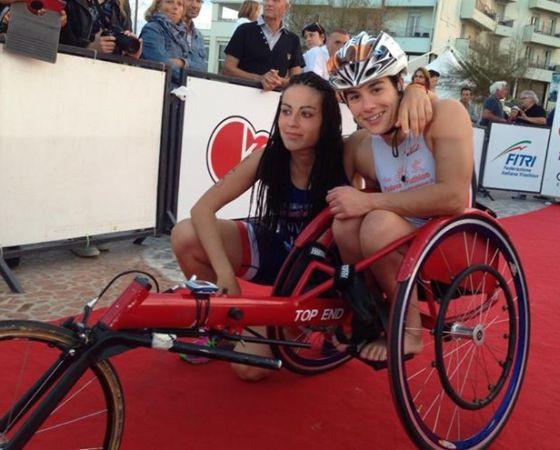 Irene Riviera e Rita Cuccuru al traguardo dei Campionati Italiani Paratriathlon 2014 di Riccione