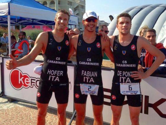 Tripletta dei Carabinieri tra gli uomini negli Italiani di triathlon sprint 2014 a Riccione