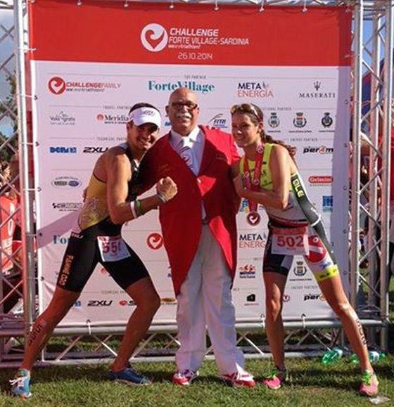 Alberto Casadei e Renata Fuchs con Enzo Fortunato al Challenge Forte Village Triathlon 2014