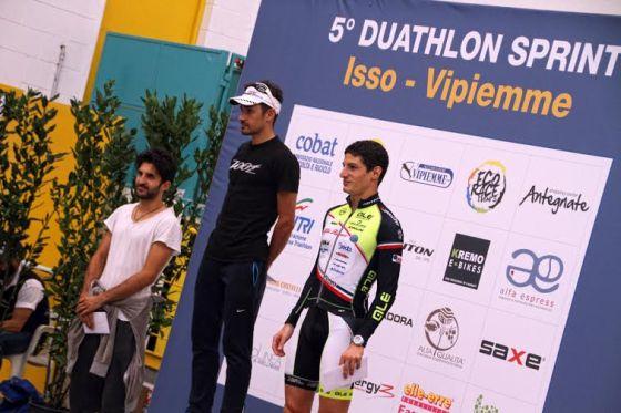 Il podio maschile del Duathlon Sprint Isso 2014