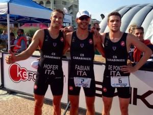Il podio maschile del Campionati Italiano di Triathlon Sprint 2014 di Riccione