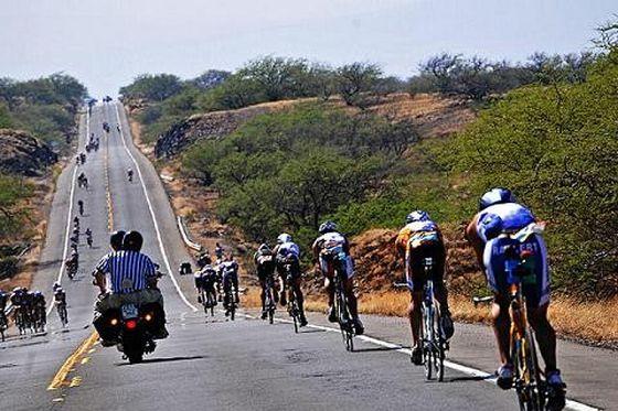 La frazione bike dell'Ironman Hawaii