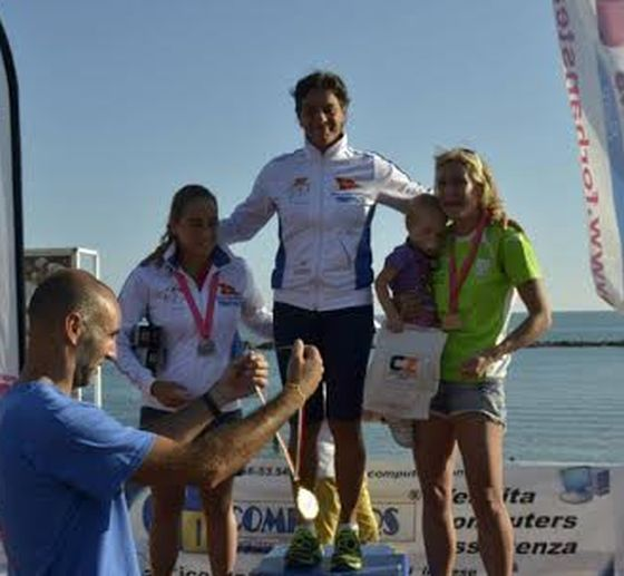Il podio femminile del Triathlon Sprint di Santa Marinella 2014