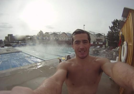 Davide Giardini si allena in piscina (all'aperto!) a Boulder tutto l'anno