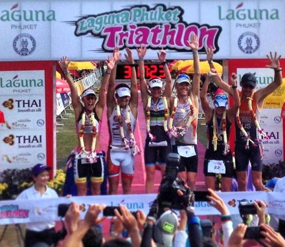 Il podio 2014 del Laguna Phuket Triathlon 2014
