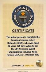Il certificato del Guinnes World Records di Lew Hollander