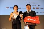 Angelica Olmo e Mauro Garavaglia, Presidente Comitato FITri Lombardia, al Gala del Triathlon 2015