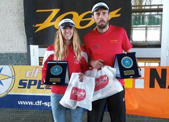 Marica Romano e Marco Mangiarotti, vinitori del 1° Cremona Triathlon Cross Country