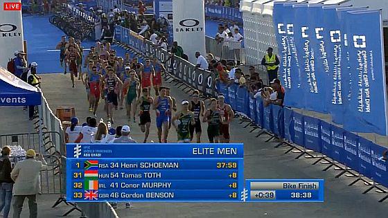 ITU #WTSAbuDhabi #triathlon, 5K di corsa con Mola, Murray e Luis davanti, Fabian, Secchiero e De Ponti più dietro, Uccio a 50″