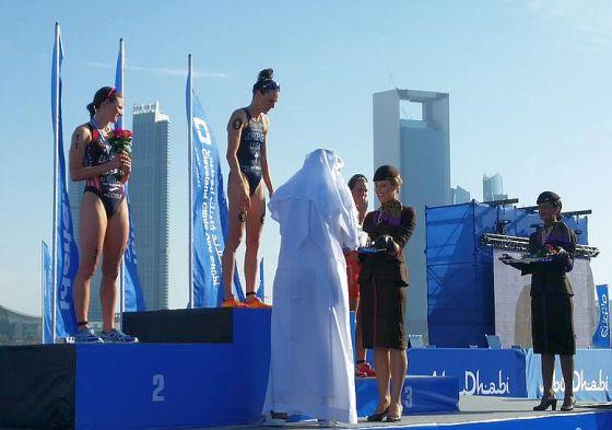 ITU WTS Abu Dhabi 2015, il podio femminile