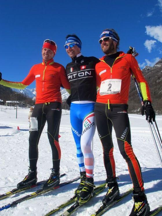 Il podio maschile del Winter Triathlon Chialamberto 2015