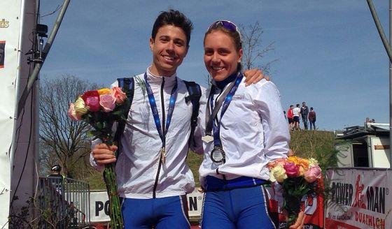Alberto Della Pasqua, oro, e Giorgia Priarone, argento, agli Europei di duathlon sprint 2015 in Olanda