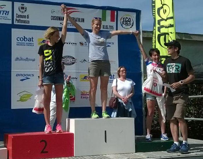 Il podio femminile del Cusioman 2015 vinto da Francesca Tibaldi