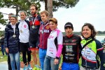 Il podio dell'Irondelta Triathlon Medio di Primavera del 26 aprile 2015 vinto da Martina Dogana e Mattia Ceccarelli (Foto: Patrizio Benini)