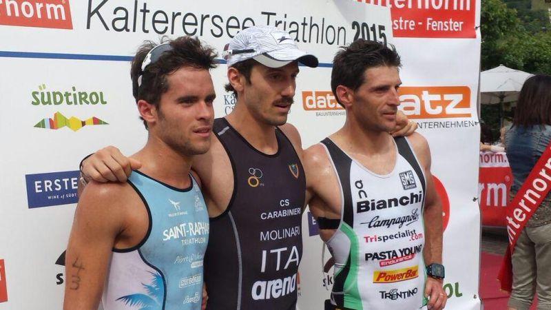 Il podio maschile del 27° Triathlon di Caldaro vinto da Giulio Molinari