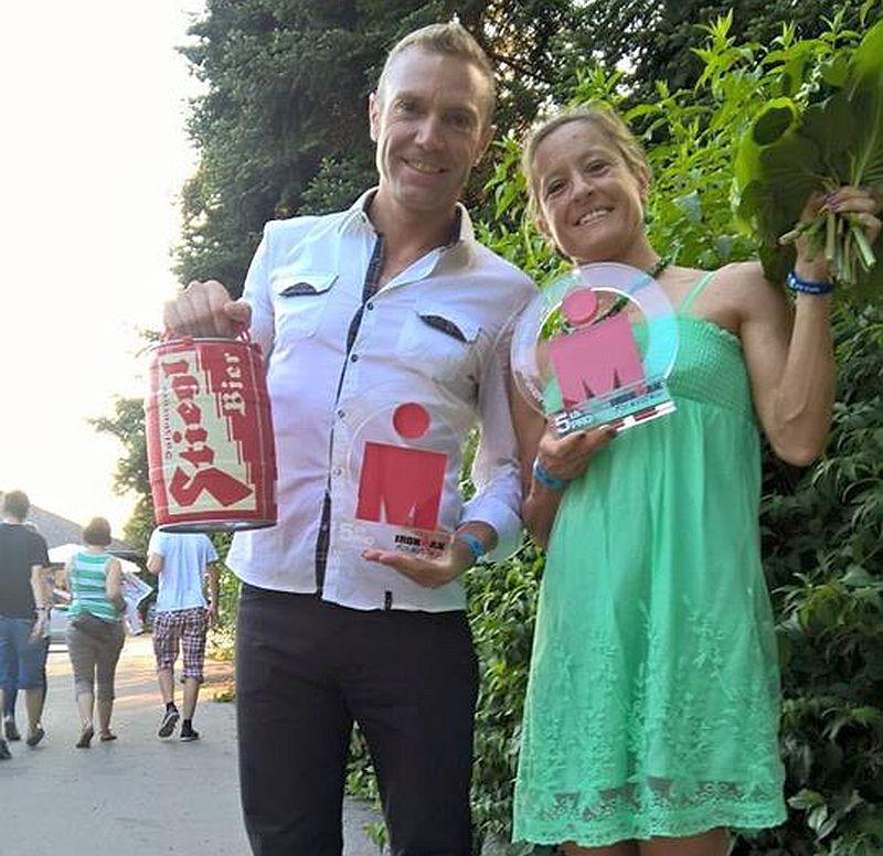 Martina Dogana e Massimo Cigana dopo le premiazioni dell'Ironman Austria 2015