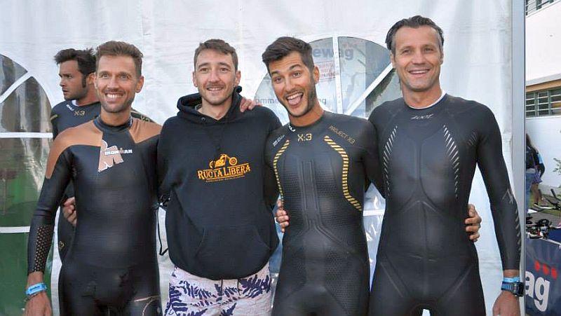 Ironman Austria 2015: da sinistra, Marco Bellomo, Gianmaria Fabbro, Enzo Bergamo e Franco Prezzi