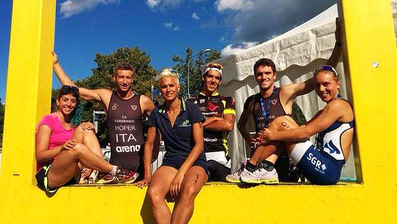 Gli azzurri al Tartu Triathlon 2015: Alessia Orla, Daniel Hofer, Veronica Signorini, Gianluca Pozzatti, Massimo De Ponti e Giorgia Priarone