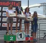 Il podio femminile dell'Irondelta 2015 triathlon olimpico vinto da Elisa Battistoni