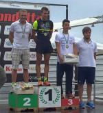 Il podio maschile dell'Irondelta 2015 triathlon olimpico vinto da Enrico Ferlazzo