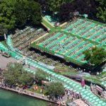L'incredibile zona cambio soppalcata del Triathlon Internazionale di Bardolino vista dall'alto