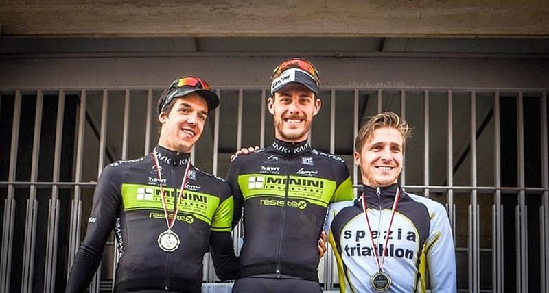 Il podio maschile del Duathlon Città di Siena 2017 vinto da Riccardo Mosso (Foto: Caterina Cellai)
