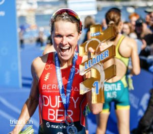 Flora Duffy vince anche l'ITU World Triathlon Stockholm 2017, portando a cinque i suoi successi in tappe WTS di quest'anno (Foto ©triathlon.org)