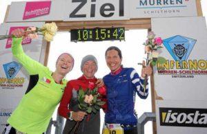 Le tre donne più veloci dell'Inferno Triathlon 2017: Nina Brenn, Petra Eggenschwiler e Ricarda Lisk (Foto ©Inferno Triathlon)