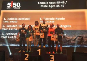 Il podio maschile e femminile cat. 45-49 del 5i50 Cervia Triathlon Emilia Romagna, prima edizione, corsa il 24 settembre 2017