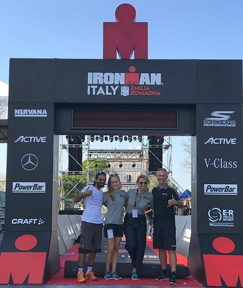 Daddo, Lisa, Veronica e Paul al sound check del 1° Ironman Italy Emilia Romagna