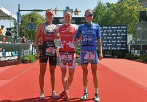 Le regine dell'Ironman 70.3 World Championship 2017 di Chattanooga: Emma Pallant (2^), Daniela Ryf (1^) e Laura Philipp (3^) - (Foto ©Donald Miralle)