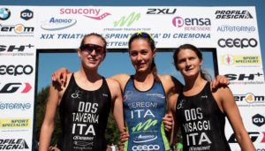 Il podio femminile del 19^ Triathlon Sprint Città di Cremona corso il 3 settembre 2017: Beatrice Taverna, Bianca Seregni e Silvia Visaggi