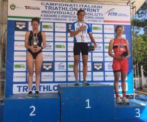 Il podio femminile dei Campionati Italiani di triathlon sprint 2017, corsi a Lignano Sabbiadoro (UD): Ilaria Zane (DDS), Beatrice Mallozzi (A.S. Minerva Roma) e Alice Betto (G.S. FF.OO.)