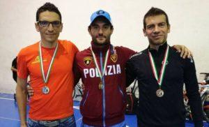 Il podio maschile del Duathlon Città di Pavia 2017: da sinistra, Francesco Nadalutti (Federclubtrieste), Andrea Secchiero (Fiamme Oro) e Huber Rossi (Freezone),
