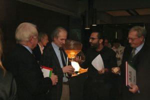 Dario Nardone in compagnia dei presidenti del Triathlon Novara: Angelo Nicola D'Aquino, Angelo Galli e Gabriele Sprocati