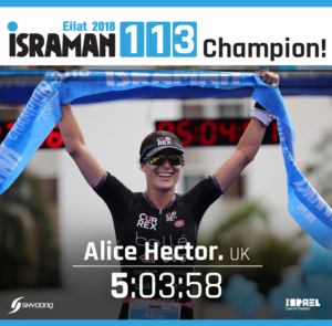 Alice Hector è stata la più veloce nell'Israman 2018. 5:03:58 il suo tempo