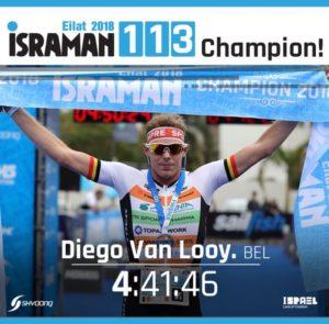 Fermando il cronometro a 4:41:46 Diego Van Looy ha vinto l'Israman 2018, distanza 113