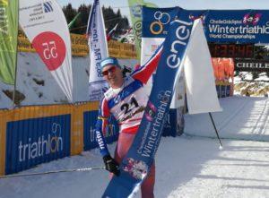 Il russo Pavel Andreew, sabato 27 gennaio 2018, ha conquistato il suo sesto titolo mondiale di winter triathlon Elite (Foto ©WorldTriathlonLive)